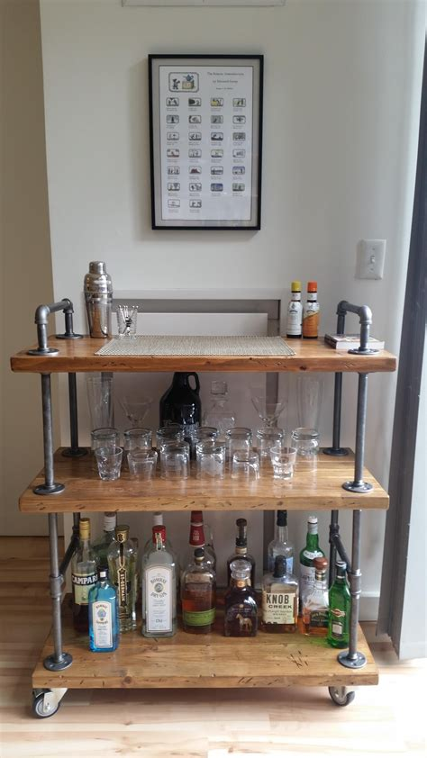 industrial bar cart wood black pipe   diy