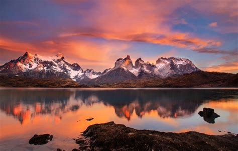 wallpaper lake morning chile south america patagonia