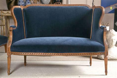 Blue Velvet Settee by 19th C Carved Wood Framed Settee With Blue Velvet