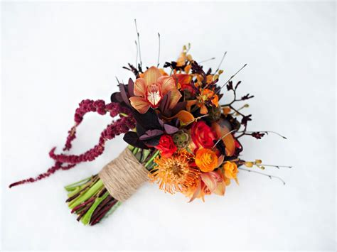 rustic fall orange butterscotch red plum wedding bouquet