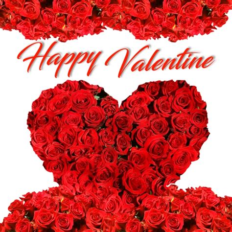 happy valentine big heart png  red flower border psd