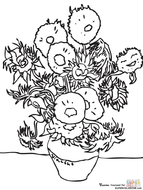 sunflowers  vincent van gogh coloring page