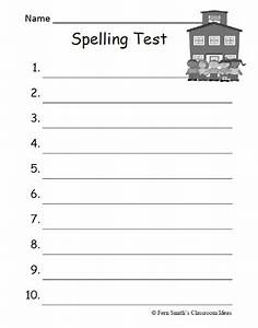 fern39s freebie friday seasonal blank spelling test With free printable spelling test template