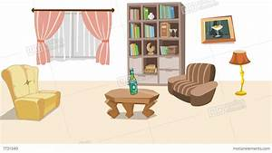 Earthquake In Cartoon Living Room Stock Animation | 7731049