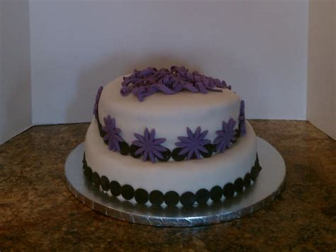 Purple White And Black Birthday Cake