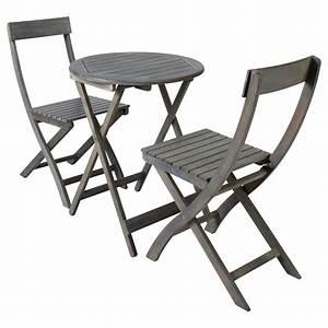 Table Jardin Acacia : table 2 chaises de jardin en acacia grises d 39 cm st malo maisons du monde ~ Teatrodelosmanantiales.com Idées de Décoration