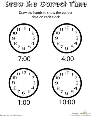 analog clocks draw  time worksheet educationcom