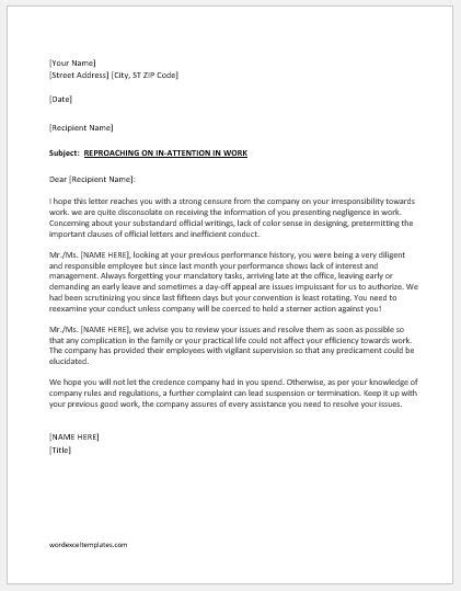 Reprimand Letter to Employee for Poor Performance | Formal