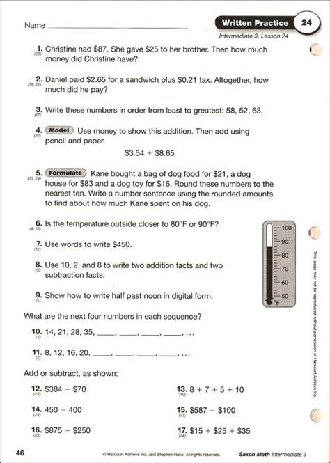 Saxon Math Intermediate 3 Written Pract Wrkbk (020116) Details  Rainbow Resource Center, Inc