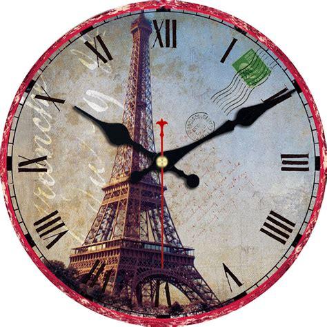 Decorative Living Room Wall Clocks by Wonzom Eiffel Tower Large Decorative Wall