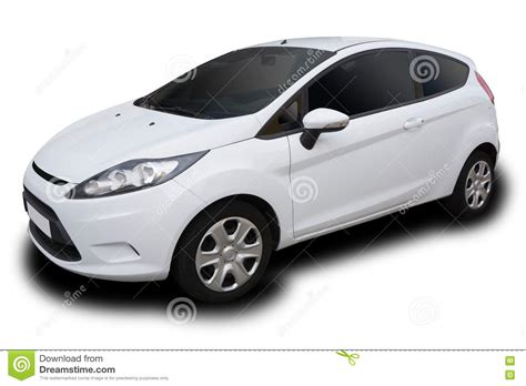 White Compact Four Door Car Stock Illustration