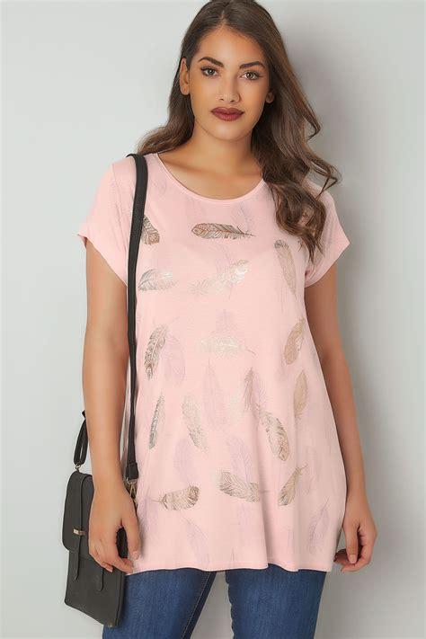 Tshirt Rose Imprimé Plume