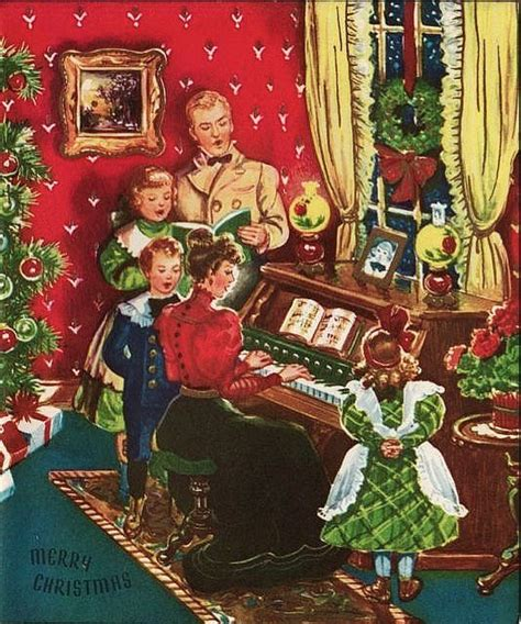 vintage greeting card christmas old fashioned family piano singing o639 vintage