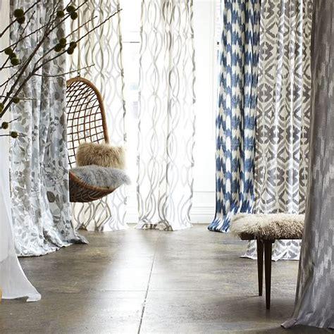 cotton canvas printed curtain woodland west elm