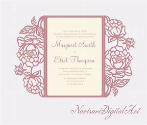Peonies cricut silhouette cameo wedding invitation gate for Wedding invitation template for cricut