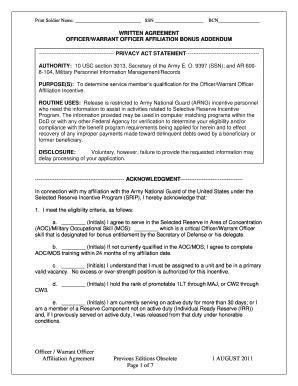 fillable  officer affiliation bonus addendum fax