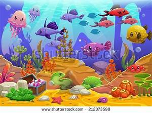Underwater world, cartoon vector illustration - stock ...