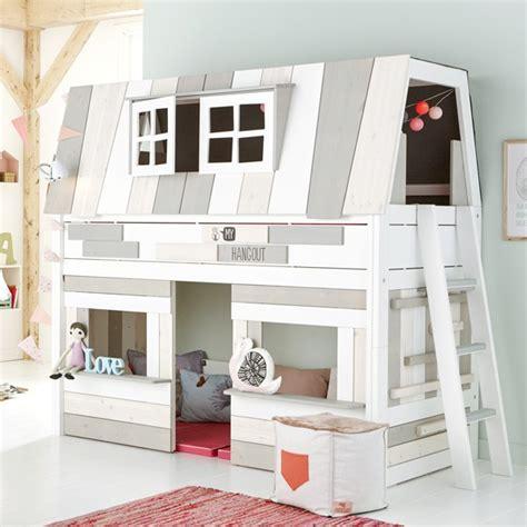 bureau design blanc laqué lit cabane enfant mi hauteur 90x200cm blanc hang out