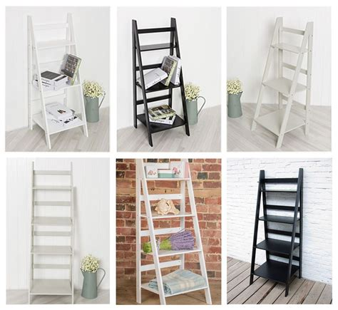 ladder book shelf bookcase stand  standing shelves storage unit  white gre  standing