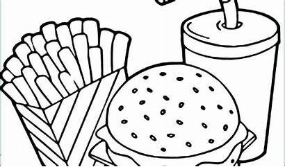 Coloring French Pages Hamburger Chip Potato Drawing