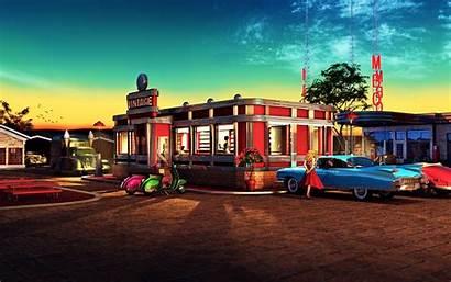 50s Diner Background Retro Classic Restaurant Wallpapersafari
