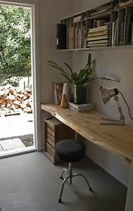Planche De Bois Pour Bureau : les meubles en bois brut sont une jolie touche nature pour l 39 int rieur ~ Teatrodelosmanantiales.com Idées de Décoration