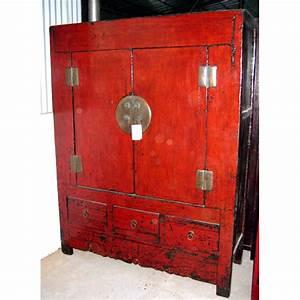 Meuble Chinois Rouge : armoire 6 portes et 1 tiroir rouge laque style chine ~ Teatrodelosmanantiales.com Idées de Décoration