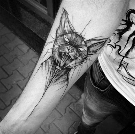 awesome black ink creepy cat sketch tattoo  forearm