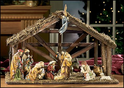 12 pc nativity set with wood stable