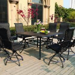 darlee 9 resin wicker counter height patio dining set with swivel chairs