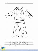 Pajama Coloring Pajamas Outline Worksheet Pyjama Pj Preschool Llama Crafts Activities Thelearningsite Pijama Learning Printables Worksheets Masks Spongebob Malvorlage sketch template