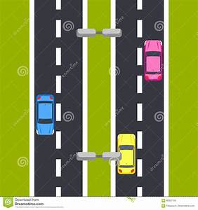 Two Way Roadway Vector Illustration Top View. Stock Vector ...