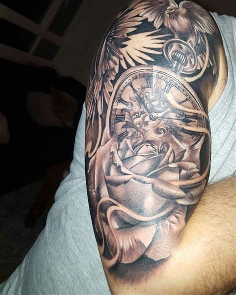 tattoo halfsleeve rose pocketwatch clock doves tattoo ideas pinterest tattoo  tatoo