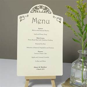 vintage heart laser cut printed wedding menu card each With images of wedding menu cards