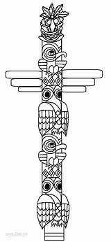 Totem Pole Coloring Pages Native American Printable Cool2bkids Faces Poles Templates Indian Drawing Alaska Template Totems Crafts Easy Animals Animal sketch template