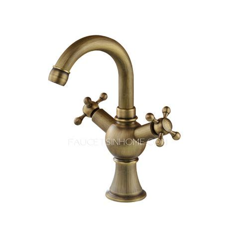 Vintage Antique Brass Two Cross Handle Bathroom Faucets