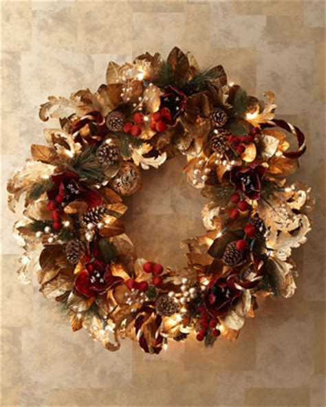 pre lit burgundy gold christmas wreath traditional