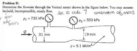 Determine The Flowrate Through The Venturi Meter S