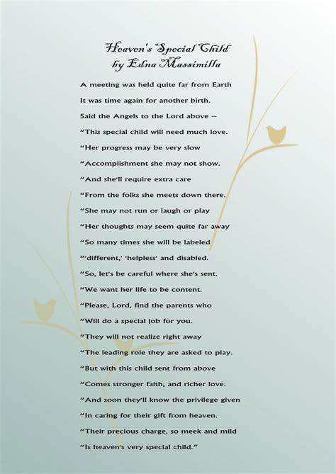 heavens special child  poem  parents  special