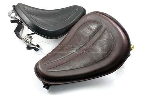 Leather Solo Seat + Brackets Spring For Harley Sportster