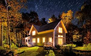 grass, trees, beautiful, Maine, nocturnal view, starry ...