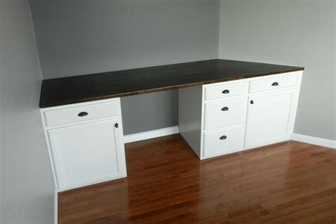 Built In Desk Cabinets by Diy Built In Desk Using Kitchen Cabinets After Cutting