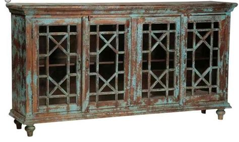 Vintage Distressed Blue Sideboard With Glass Paneled Doors