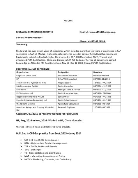 Sap Abap Trainer Resume by Sap Updated Resume
