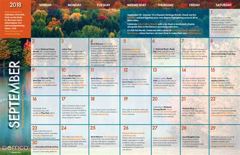 adult programming  activity calendar september