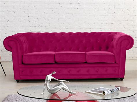 canape fushia canapé 3 places en velours coloris fushia chesterfield