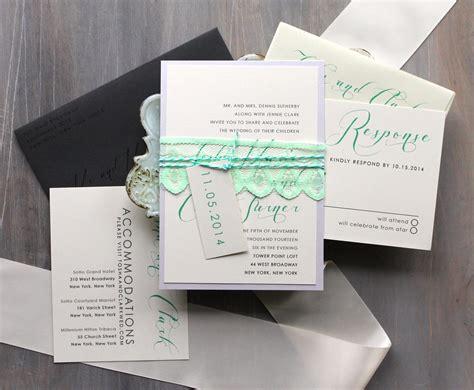 Elegant Lace Wedding Invitations Modern Script Wedding
