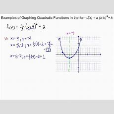 Examples Of Graphing Quadratic Functions In Standard Form Youtube