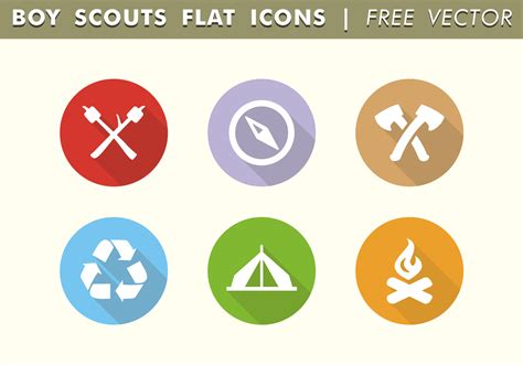 Boy Scouts Flat Icons Free Vector - Download Free Vector ...