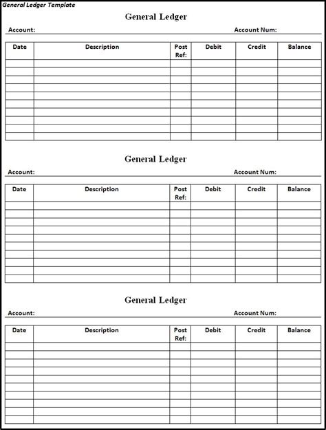 ledger template general ledger template free word s templates